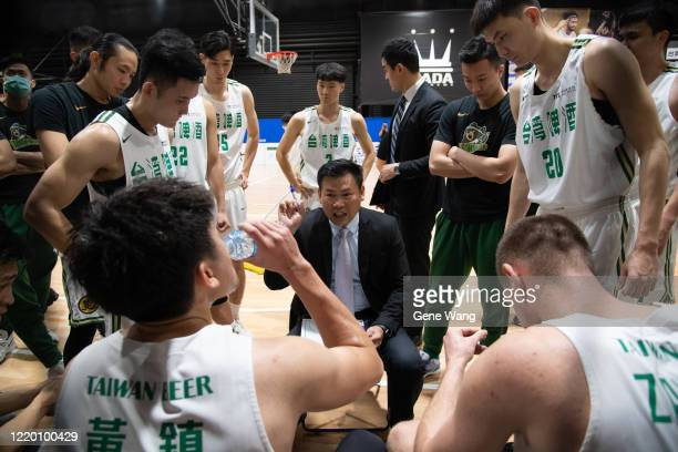 Manager Chun San Chou of Taiwan Beer coaching during the SBL Finals Game One between Taiwan Beer and Yulon Luxgen Dinos at Hao Yu Trainning Center on...