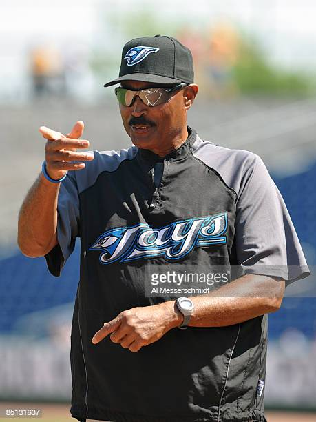 Manager Cito Gaston of the Toronto Blue Jays points during pre-game ceremonies before play against the Philadelphia Phillies February 26, 2009 at...