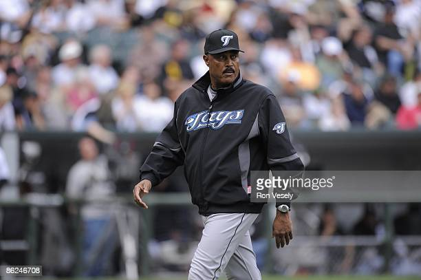 Manager Cito Gaston of the Toronto Blue Jays walks back to the dugout after making a pitching change against the Chicago White Sox at US Cellular...