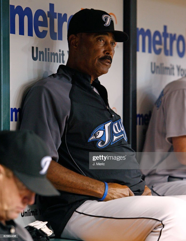 Manager Cito Gaston #43 of the Toronto Blue Jays watches his team from the dugout against the Tampa Bay Rays during the game on August 26, 2008 at Tropicana Field in St. Petersburg, Florida.