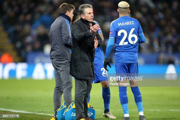 Manager Claud Puel of Leicester City with Riyad Mahrez of Leicester City during The Emirates FA Cup Quarter Final tie between Leicester City and...