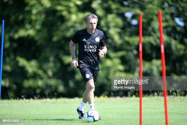 Manager Claude Puel during the Leicester City preseason training camp on July 09 2018 in Evian France