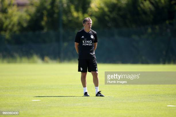 Manager Claude Puel during the Leicester City preseason training camp on July 10 2018 in Evian France