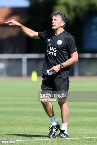 Manager Claude Puel during the Leicester City preseason training camp on July 11 2018 in Evian France