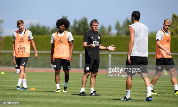 Manager Claude Puel during the Leicester City preseason training camp on July 13 2018 in Evian France
