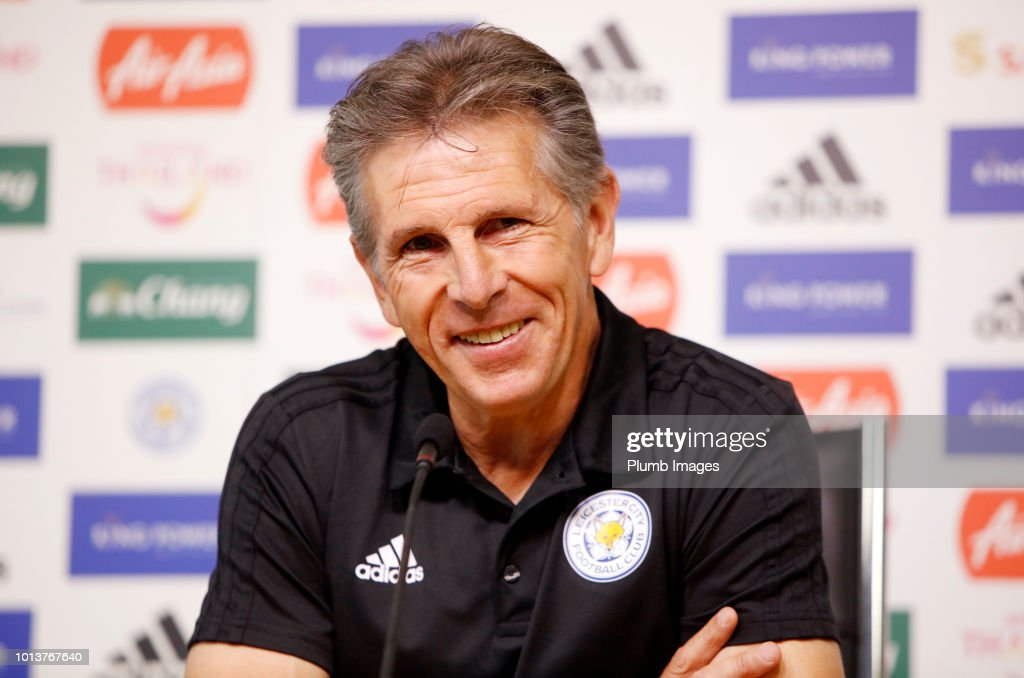 Manager Claude Puel during the Leicester City press conference at King Power Stadium on August 9th , 2018 in Leicester, United Kingdom.