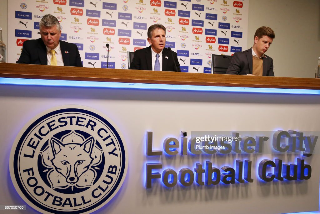 Manager Claude Puel during the Leicester City press conference at Belvoir Drive Training Complex on October 27 , 2017 in Leicester, United Kingdom.