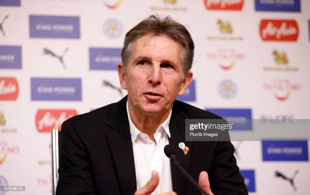 Manager Claude Puel during the Leicester City press conference at Belvoir Drive Training Complex on November 17 , 2017 in Leicester, United Kingdom.