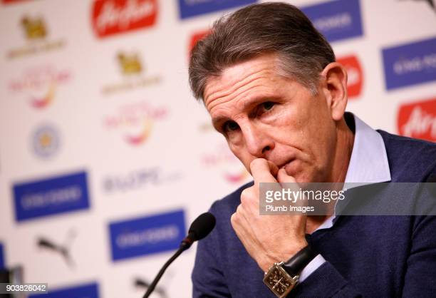 Manager Claude Puel during the Leicester City press conference at Belvoir Drive Training Complex on January 11th 2018 in Leicester United Kingdom