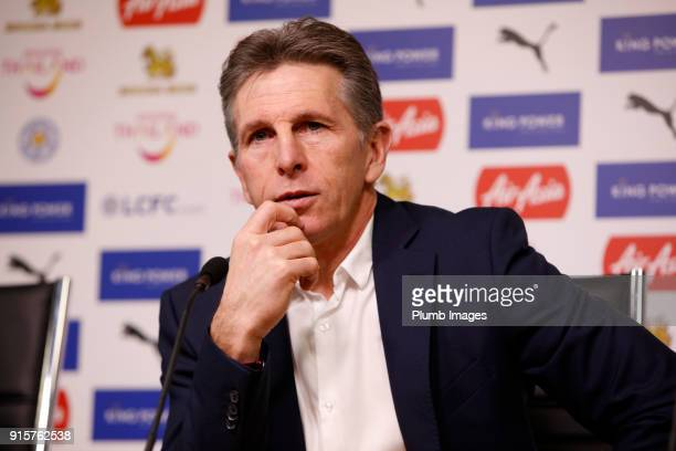 Manager Claude Puel during the Leicester City press conference at Belvoir Drive Training Complex on February 08 2018 in Leicester United Kingdom