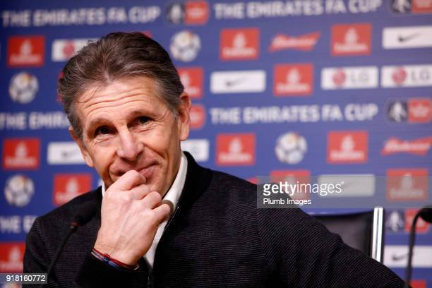 Manager Claude Puel during the Leicester City press conference at Belvoir Drive Training Complex on February 14 2018 in Leicester United Kingdom