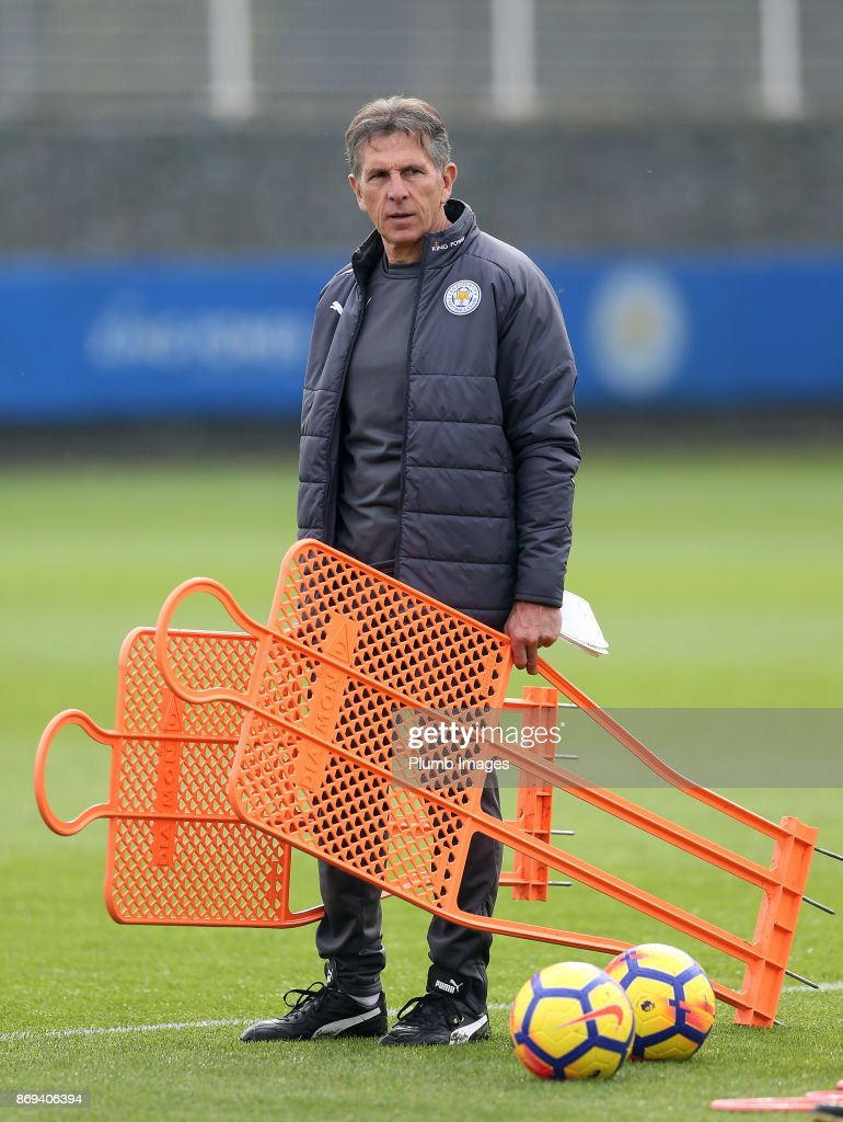 Manager Claude Puel during the Leicester City training session at Belvoir Drive Training Complex on November 02 , 2017 in Leicester, United Kingdom.