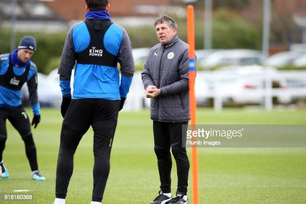 Manager Claude Puel during the Leicester City training session at Belvoir Drive Training Complex on February 14 2018 in Leicester United Kingdom