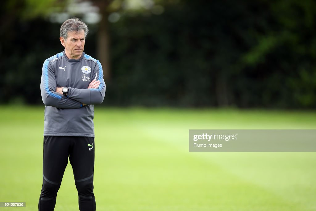 Manager Claude Puel during the Leicester City training session at Belvoir Drive Training Complex on May 04 , 2018 in Leicester, United Kingdom.