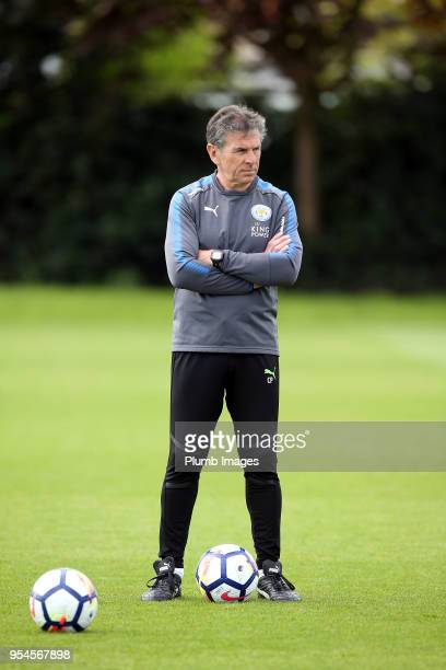 Manager Claude Puel during the Leicester City training session at Belvoir Drive Training Complex on May 04 2018 in Leicester United Kingdom