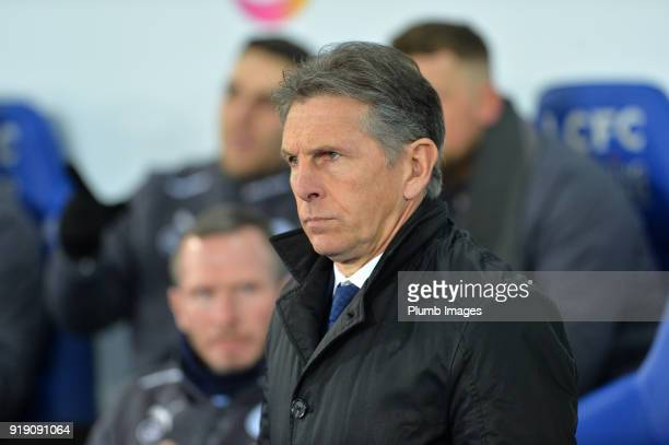 Manager Claude Puel of Leicester City at King Power Stadium ahead of the FA Cup fifth round match between Leicester City and Sheffield United at King...