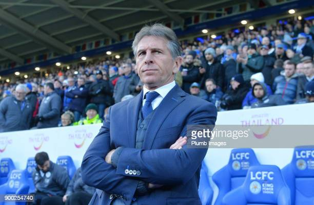 Manager Claude Puel of Leicester City at King Power Stadium during the Premier League match between Leicester City and Huddersfield at King Power...