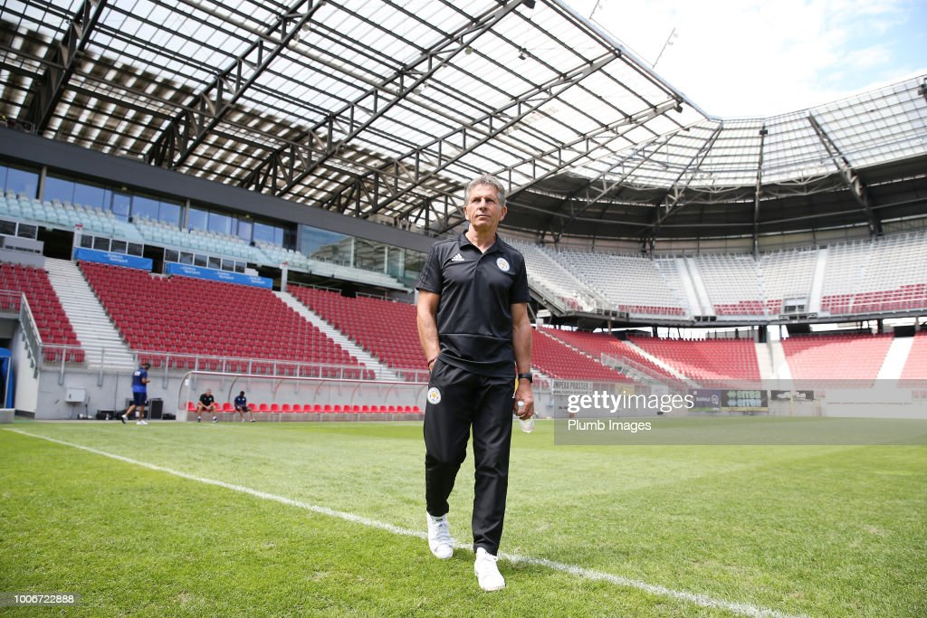 Manager Claude Puel of Leicester City at Worthersee Stadion ahead of the pre-season friendly match between Leicester City and Udinese at Worthersee Stadion on July 28, 2018 in Klagenfurt, Austria.