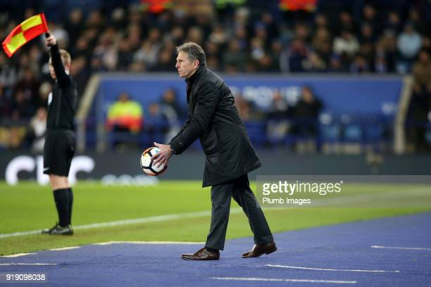 Manager Claude Puel of Leicester City during the FA Cup fifth round match between Leicester City and Sheffield United at King Power Stadium on...