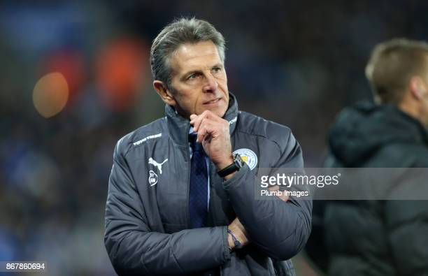 Manager Claude Puel of Leicester City during the Premier League match between between Leicester City and Everton at King Power Stadium on October...