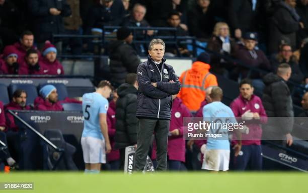 Manager Claude Puel of Leicester City during the Premier League match between Manchester City and Leicester City at Etihad Stadium on February 10th...
