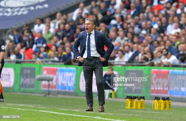 Manager Claude Puel of Leicester City during the Premier League match between Tottenham Hotspur and Leicester City at Wembley Stadium on May 13th...
