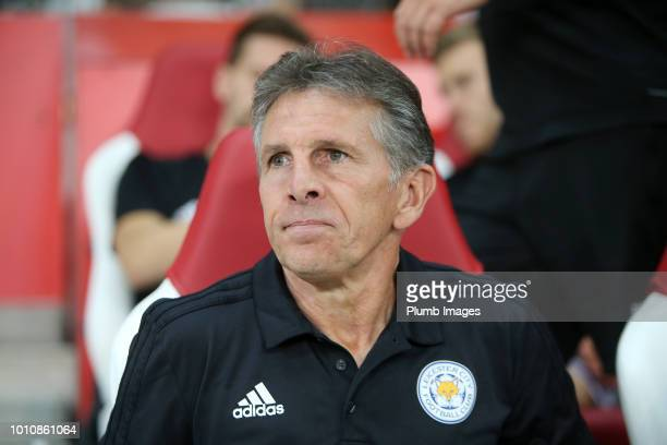 Manager Claude Puel of Leicester City during the preseason friendly match between Lille and Leicester City at Stade Pierre Mauroy on August 4 2018 in...