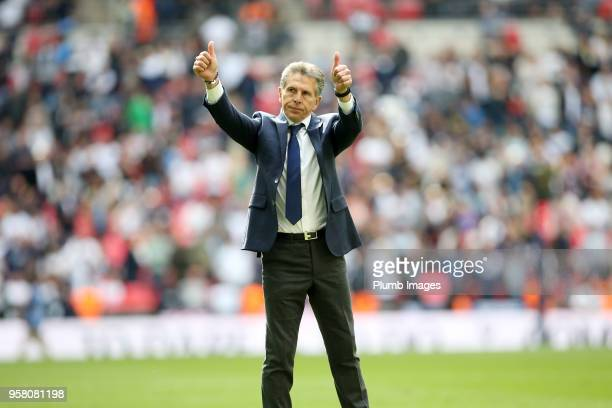 Manager Claude Puel of Leicester City gives a thumbs up to the travelling fans after the Premier League match between Tottenham Hotspur and Leicester...