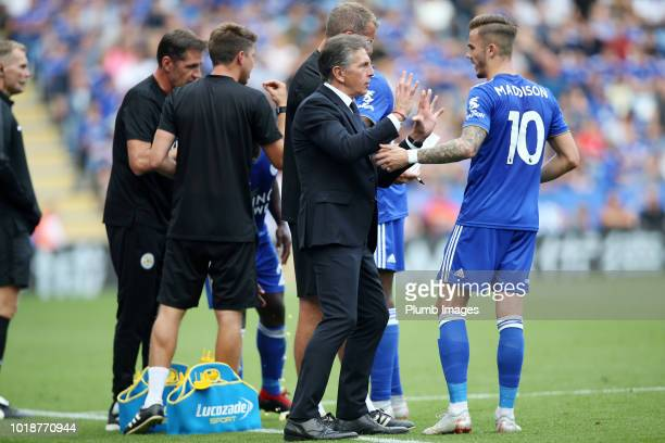 Manager Claude Puel of Leicester City gives instructions to James Maddison of Leicester City during the Premier League match between Leicester City...
