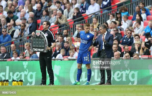 Manager Claude Puel of Leicester City prepares to bring on Harvey Barnes of Leicester City during the Premier League match between Tottenham Hotspur...