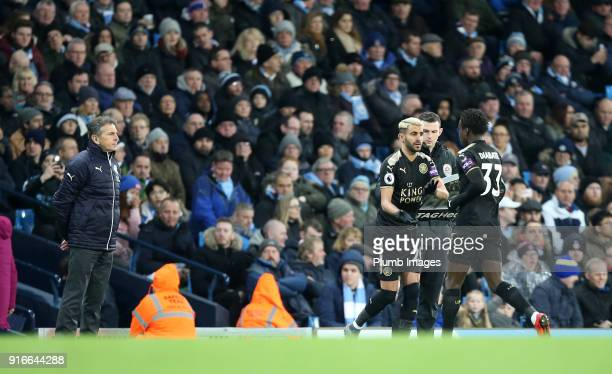 Manager Claude Puel of Leicester City replaces Fousseni Diabate of Leicester City with Riyad Mahrez of Leicester during the Premier League match...