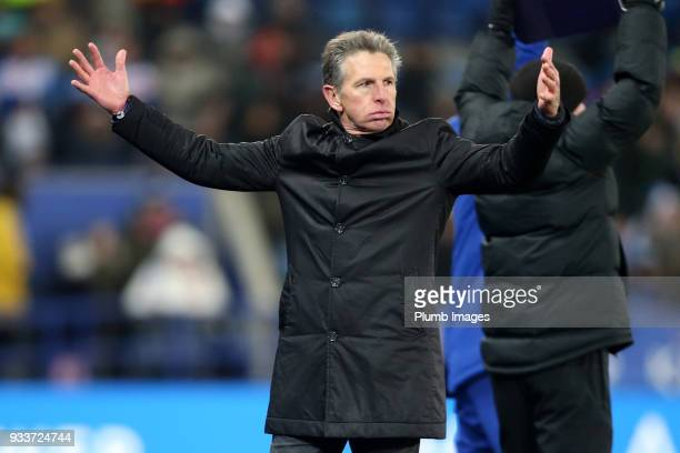Manager Claude Puel of Leicester City shows his frustration during The Emirates FA Cup Quarter Final tie between Leicester City and Chelsea at King...