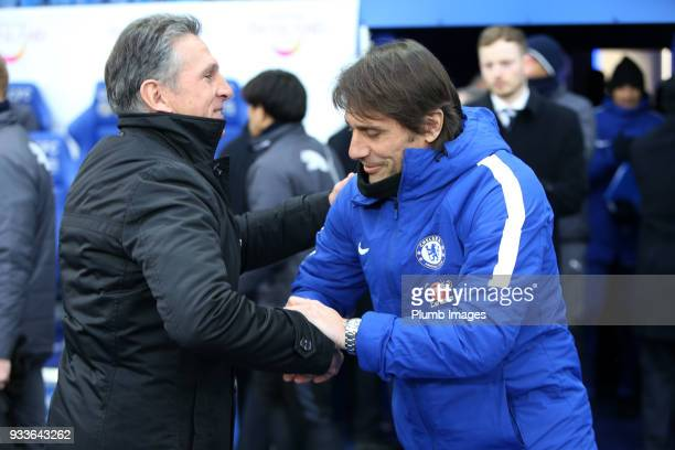 Manager Claude Puel of Leicester City welcomes Manager Antonio Conte of Chelsea to King Power Stadium ahead of The Emirates FA Cup Quarter Final tie...