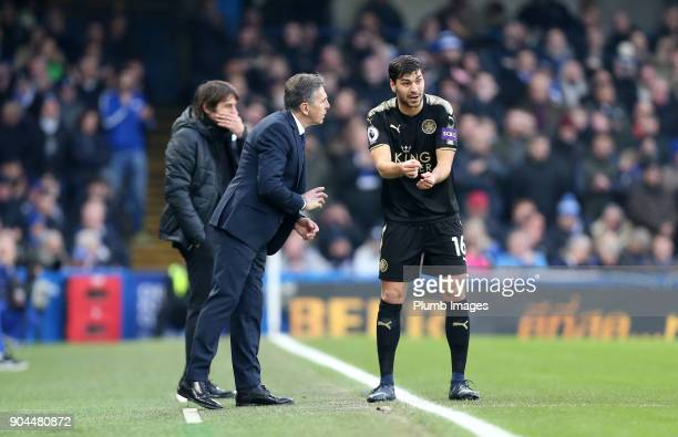 Manager Claude Puel of Leicester City with Aleksandar Dragovic of Leicester City during the Premier League match between Chelsea and Leicester City...
