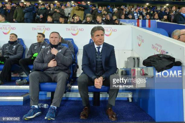 Manager Claude Puel of Leicester City with Assistant Manager Michael Appleton of Leicester City at King Power Stadium ahead of the FA Cup fifth round...