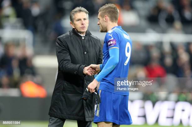 Manager Claude Puel of Leicester City with Jamie Vardy of Leicester City during the Premier League match between Newcastle United and Leicester City...