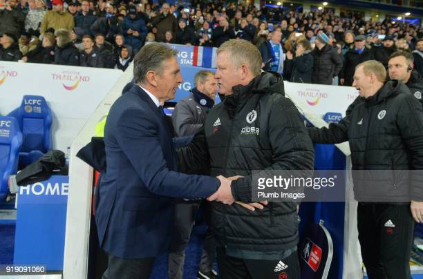 Manager Claude Puel of Leicester City with Manager Chris Wilder of Sheffield United at King Power Stadium ahead of the FA Cup fifth round match...