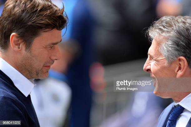 Manager Claude Puel of Leicester City with Manager Mauricio Pochettino of Tottenham Hotspur during the Premier League match between Tottenham Hotspur...