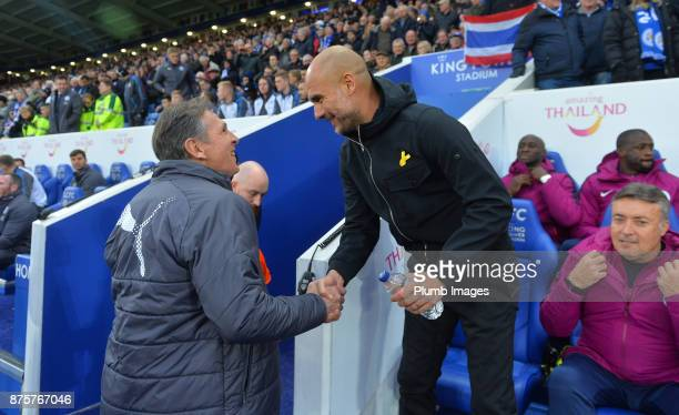 Manager Claude Puel of Leicester City with manager Pep Guardiola of Manchester City at King Power Stadium ahead of the Premier League match between...