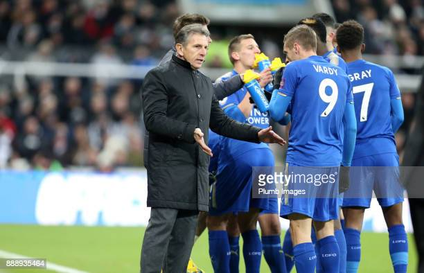 Manager Claude Puel of Leicester gives instructions to Jamie Vardy of Leicester City during the Premier League match between Newcastle United and...
