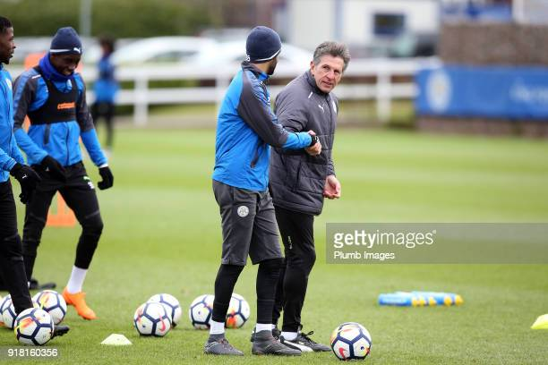 Manager Claude Puel with Riyad Mahrez during the Leicester City training session at Belvoir Drive Training Complex on February 14 2018 in Leicester...