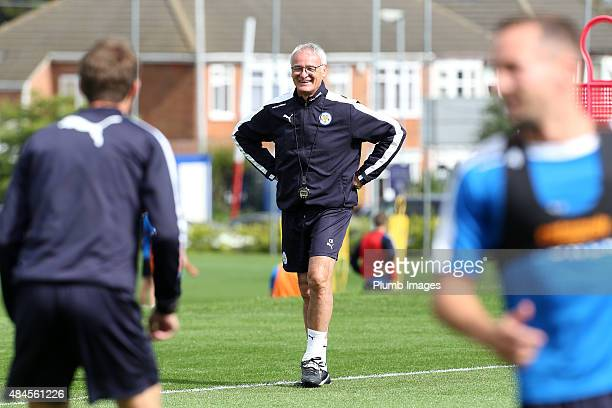 Manager Claudio Ranieri during the Leicester City training session at Belvoir Drive Training Ground on August 20 2015 in Leicester England