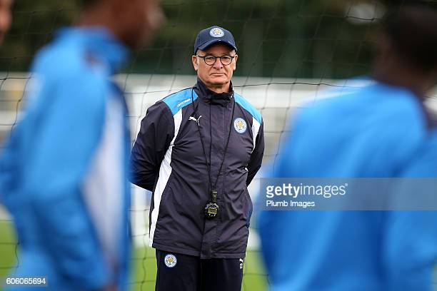 Manager Claudio Ranieri during the Leicester City training session at Belvoir Drive Training Complex on September 16 2016 in Leicester United Kingdom