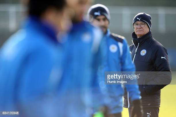 Manager Claudio Ranieri during the Leicester City training session at Belvoir Drive Training Complex on February 07 , 2017 in Leicester, United...