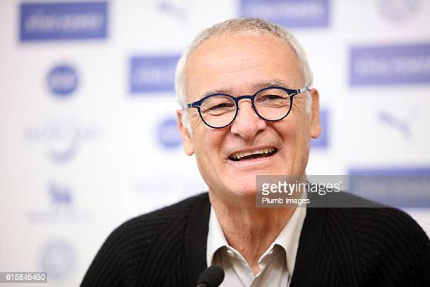 Manager Claudio Ranieri during the Leicester press conference at King Power Stadium on October 20 2016 in Leicester United Kingdom