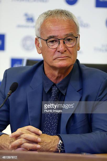 Manager Claudio Ranieri gives his first press conference as Leicester City manager during a Leicester City training session and press conference at...