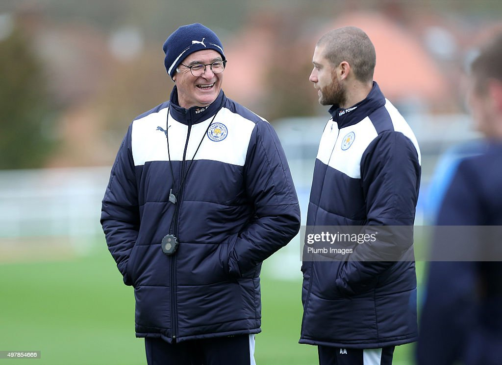 Manager Claudio Ranieri miles during the Leicester City training session at Belvoir Drive Training Complex on November 19 , 2015 in Leicester, United Kingdom.