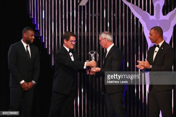 Manager Claudio Ranieri of and captain Wes Morgan accept the Laureus Spirit of Sport on behalf of Leicester City FC on stage from Laureus Ambassador...
