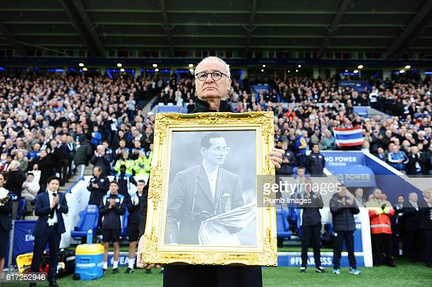 Manager Claudio Ranieri of Leicester City pays his respects to the late King of Thailand his majesty King Bhumibol Adulyade at King Power Stadium...