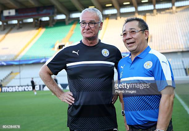 Manager Claudio Ranieri of Leicester City with chairman Vichai Srivaddhanaprabha of Leicester City during the training session at Jan Breydel Stadium...